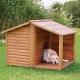 Caseta de madera para perro con porche