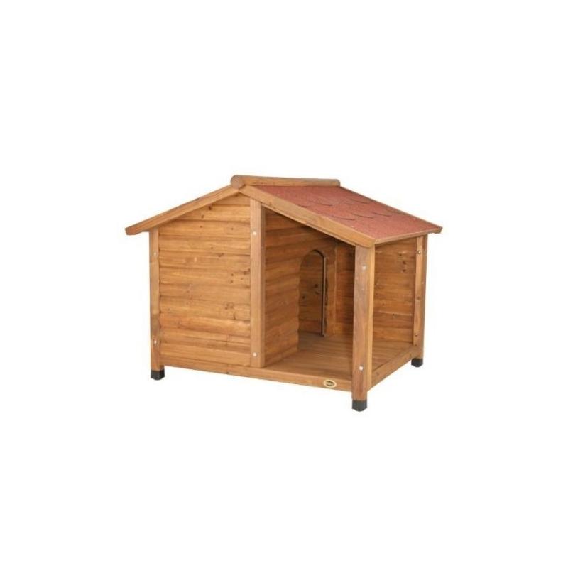 Caseta perro madera barnizada terraza verdecora - Caseta perro madera ...