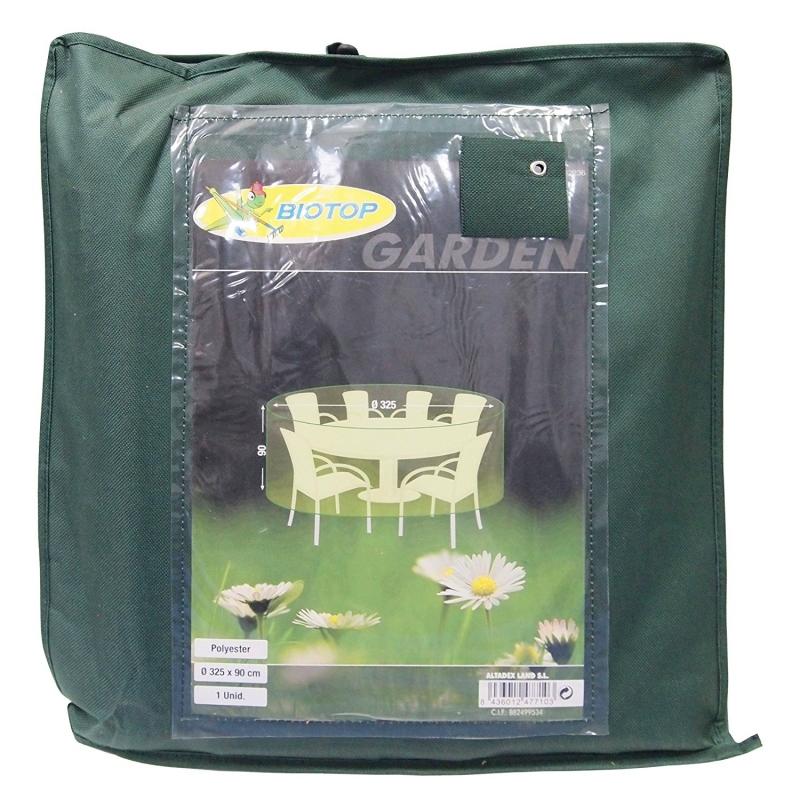 Funda redonda cubre mesa y sillas de poliester diametro for Fundas para mesas de jardin
