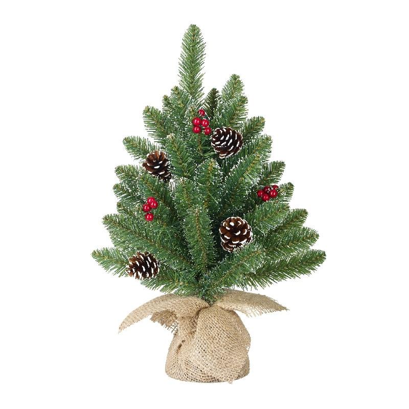 ffcd8e50c4e Mini Abeto Navidad En Yute Artificial Bayas Y Piñas 45Cm - Verdecora