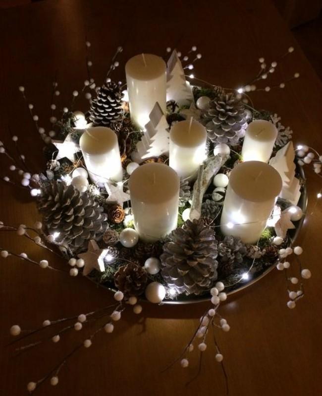 Resultado de imagen para centros de mesa navideños con luz