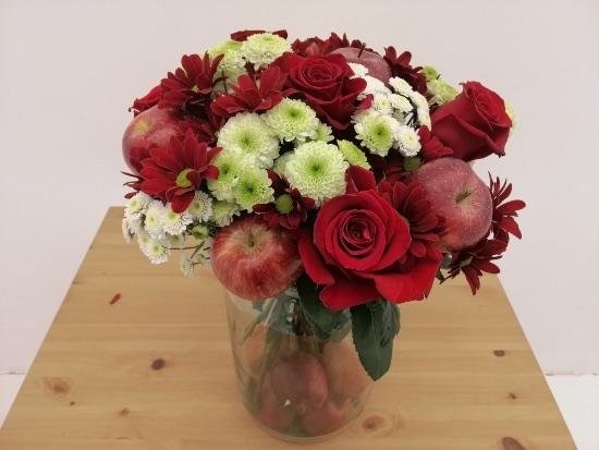 Centro de rosas naturales para San Valentín