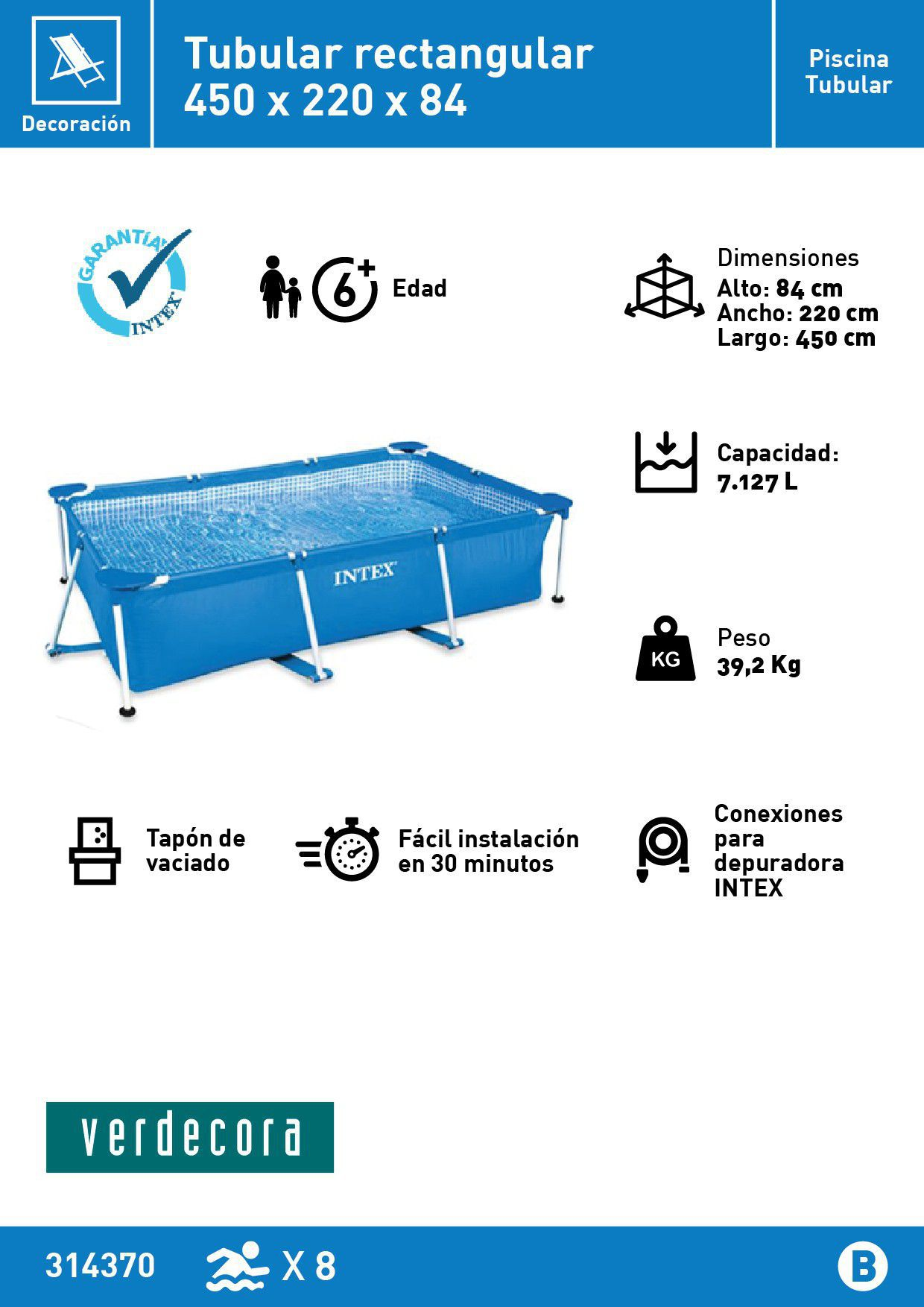 Piscina desmontable rectangular intex