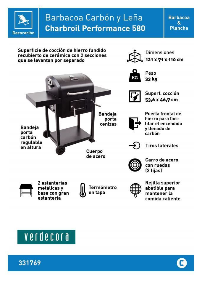 charbroil performance 580 barbacoa carbon y leña