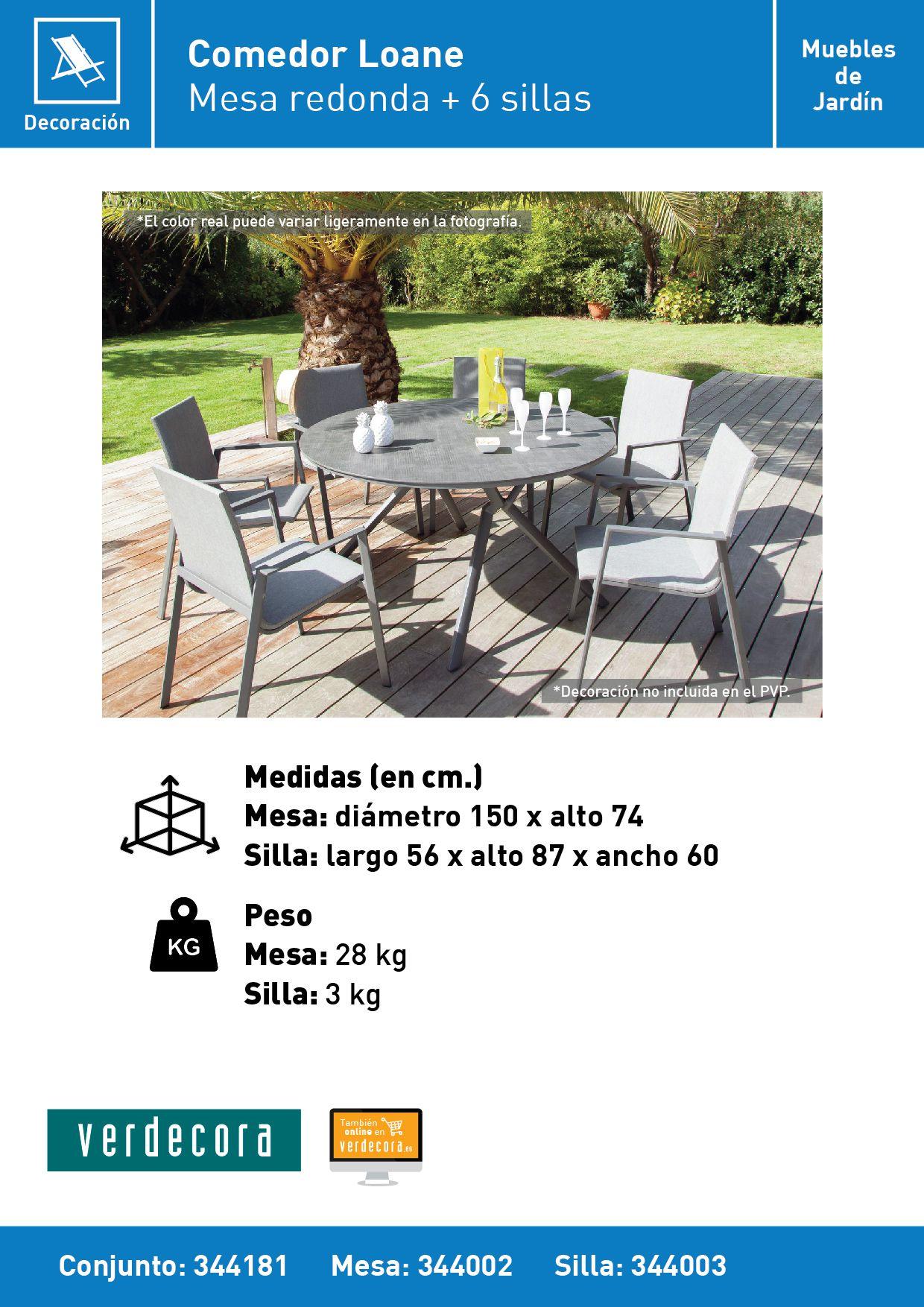 Conjunto Comedor De Jardin Loane Verdecora # Muebles Riego De La Vega