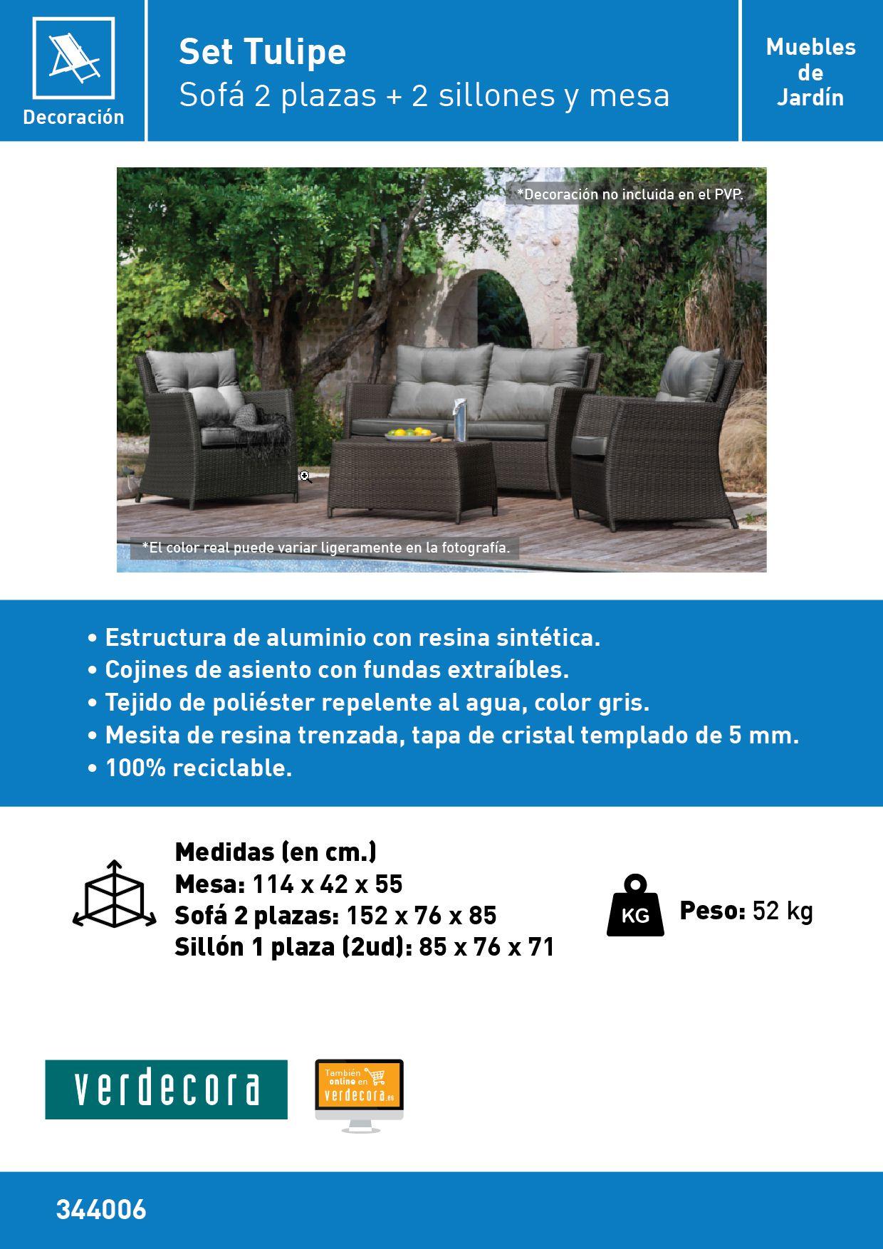 Conjunto De Muebles Jardin Tulipe Verdecora # Muebles Riego De La Vega