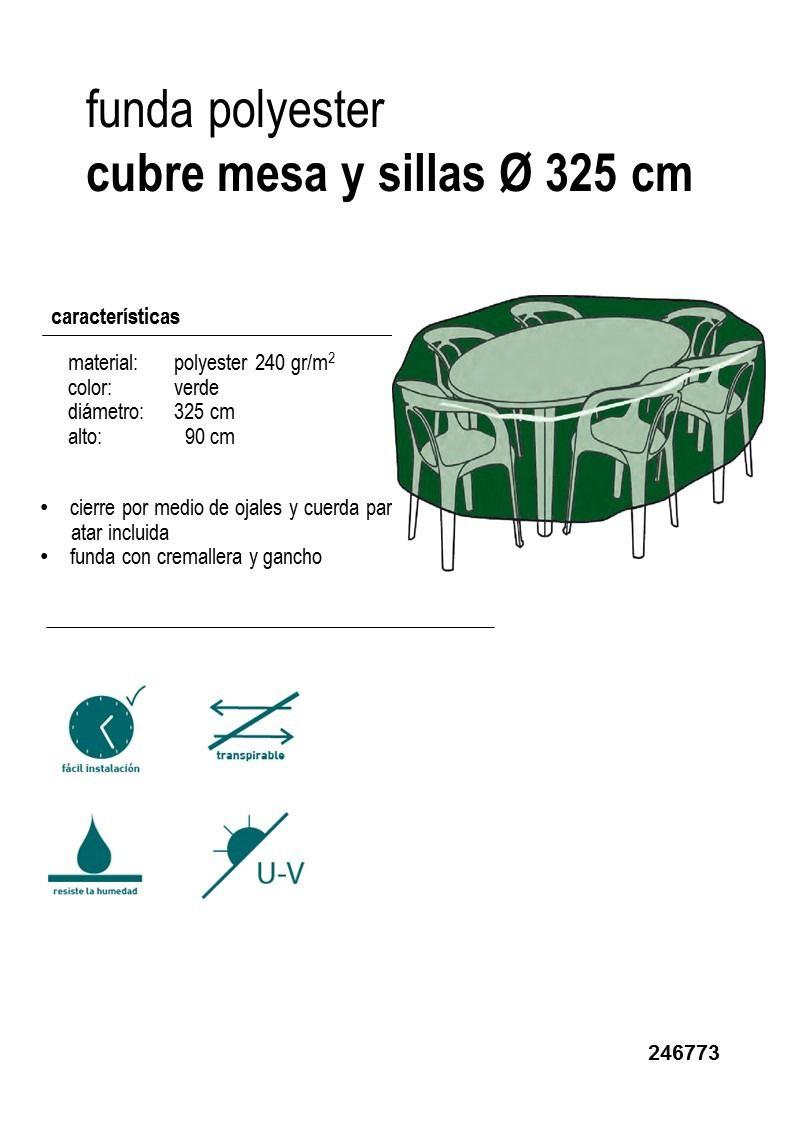 Funda redonda cubre mesa y sillas de diametro 325cm