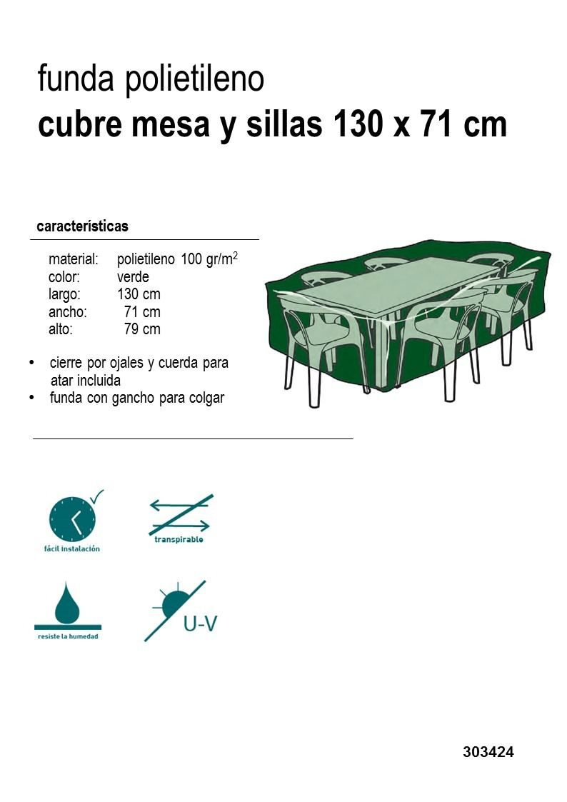 Funda mesa y sillas rectangular verde