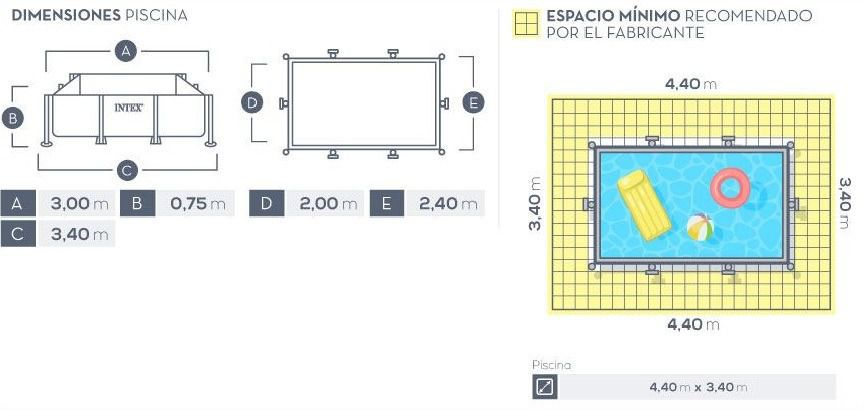 Piscina Intex Rectangular 300x200x75cm